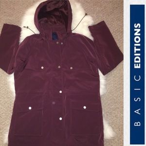 NWOT - Burgundy Women's Hooded Coat
